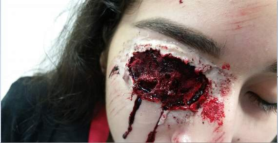 Student at Technical Skills Academy in Barking develops 'spookily realistic' eye make-up for Halloween